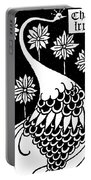 Peacock Illustration From Le Morte D'arthur By Thomas Malory Portable Battery Charger