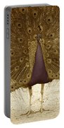 Peacock In Sepia Portable Battery Charger