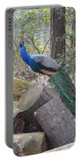 Peacock On Woodpile Portable Battery Charger