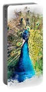 Peacock Watercolor Painting Portable Battery Charger