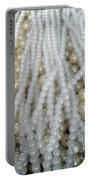 Pearl Beads - White And Beige Portable Battery Charger