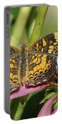 Pearl Crescent Butterfly On Coneflower Portable Battery Charger