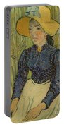 Peasant Girl In Straw Hat Portable Battery Charger