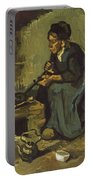 Peasant Woman Cooking By A Fireplace Portable Battery Charger