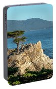 Pebble Beach Iconic Tree With Sun Light At Dusk Portable Battery Charger