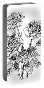 Pen And Ink Roses Portable Battery Charger