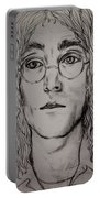 Pencil Portrait Of John Lennon  Portable Battery Charger