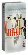 Penguins On A Red And White Sofa  Portable Battery Charger by EB Watts