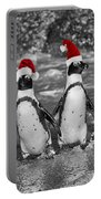 Penguins With Santa Claus Caps Portable Battery Charger