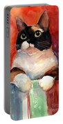 Pensive Calico Tubby Cat Watercolor Painting Portable Battery Charger