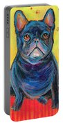 Pensive French Bulldog Painting Prints Portable Battery Charger