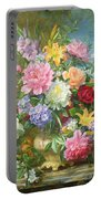 Peonies And Mixed Flowers Portable Battery Charger
