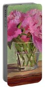 Peonies In Tumbler Portable Battery Charger