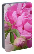 Peony Pair In Pink And White  Portable Battery Charger