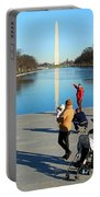People At The Reflecting Pool Portable Battery Charger