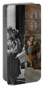People - People Waiting For The Bus - 1943 - Side By Side Portable Battery Charger