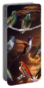 Perched Hummingbird Collage Portable Battery Charger