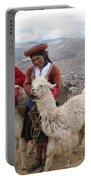 Peruvian Girls With Llamas Portable Battery Charger