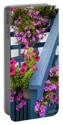 Petunias On Blue Porch Portable Battery Charger
