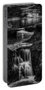 Pewits Nest Waterfalls In Black And White Portable Battery Charger