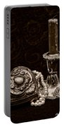 Pewter And Pearls - Sepia Portable Battery Charger