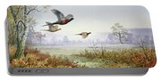 Pheasants In Flight  Portable Battery Charger
