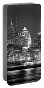 Philadelphia Philly Skyline At Night From East Black And White Bw Portable Battery Charger