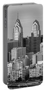Philadelphia Skyline Black And White Bw Wide Pano Portable Battery Charger