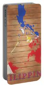 Philippines Rustic Map On Wood Portable Battery Charger