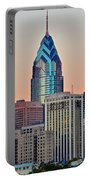 Philly At Sunset Portable Battery Charger