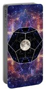 Photo Of The Moon And Sacred Geometry Portable Battery Charger