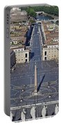 Piazza San Pietro And Colonnaded Square As Seen From The Dome Of Saint Peter's Basilica - Rome, Ital Portable Battery Charger