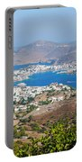Picturesque View Of Skala Greece On Patmos Island Portable Battery Charger