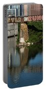 Picturesque View Of The Railroad Graffiti Bridge Over Lady Bird Lake As Canoes And Kayakers Paddle Under The Bridge On A Beautiful Summers Day Portable Battery Charger