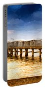 Pier At Sunset Oil Painting Photograph Portable Battery Charger