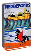 Pierrefonds Castle, Woman On Horse, France Portable Battery Charger