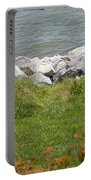 Pile Of Rocks On Shoreline Portable Battery Charger