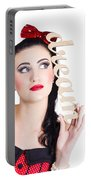 Pin Up Girl Daydreaming  Portable Battery Charger