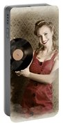 Pin-up Rockabilly Woman Holding Vinyl Record Lp Portable Battery Charger