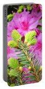 Pine Conifer Art Print Pink Azaleas Flower Garden Baslee Troutman Portable Battery Charger