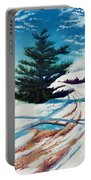 Pine Tree Along The Country Road Portable Battery Charger