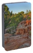 Pine Trees On Red Cliffs Portable Battery Charger