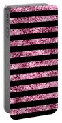 Pink And Black Glitter Sequin Stripes Portable Battery Charger