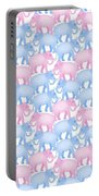 Pink And Blue Elephant Pattern Portable Battery Charger