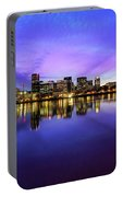 Pink And Blue Hue Evening Sky Over Portland Oregon Portable Battery Charger