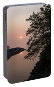 Pink And Green Summer - Soft Misty Sunrise On The Lake Portable Battery Charger
