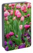 Pink And Purple Tulips At The Spring Floriade Festival Portable Battery Charger