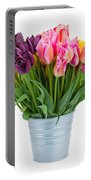 Pink And Violet  Tulips Portable Battery Charger