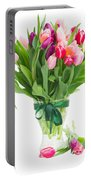 Pink And Violet Tulips Bouquet  Portable Battery Charger