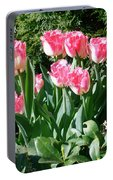 Pink And White Fringed Tulips Portable Battery Charger